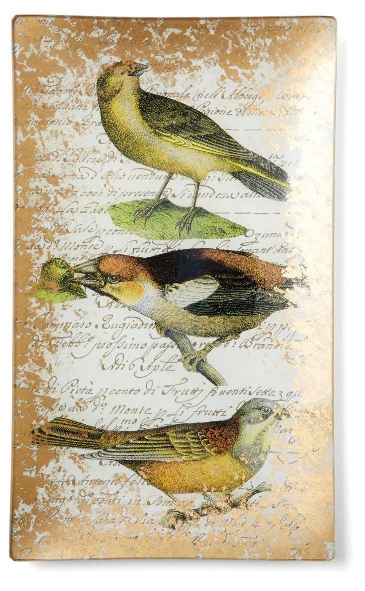 Hand-Decoupaged Brown Birds Tray