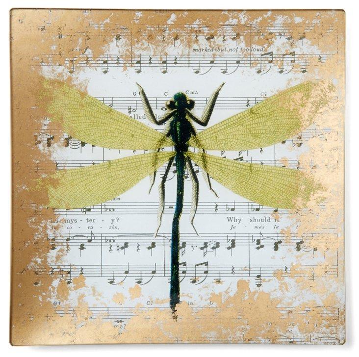 Dragonfly Hand-Decoupaged Tray