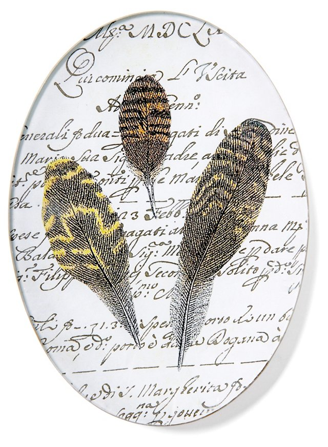 Hand-Decoupaged Feather Tray A
