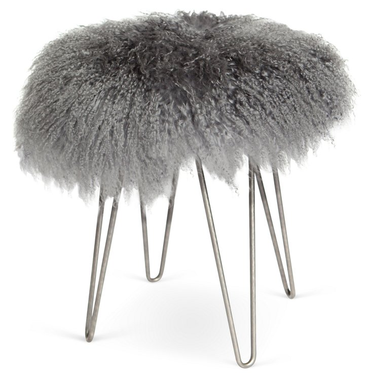 Curly Hairpin Stool, Gray