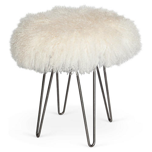 Curly Hairpin Stool, Silver/Cream