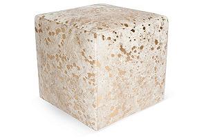 """Cube 18"""" Pouf, White/Gold Dot"""