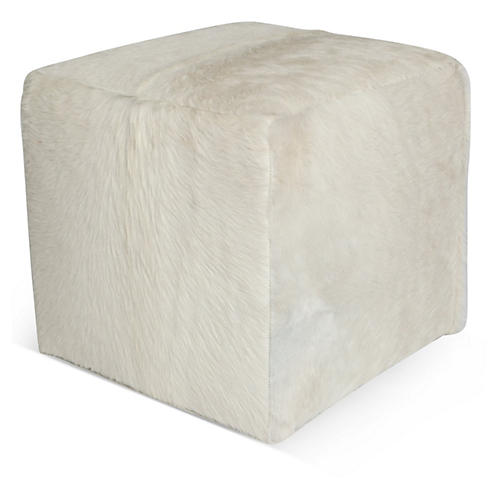 "Cube 18"" Pouf, White Hide"
