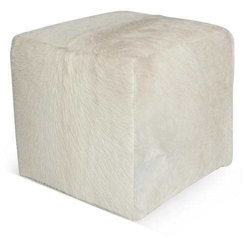 Cube Ottoman, White Hide