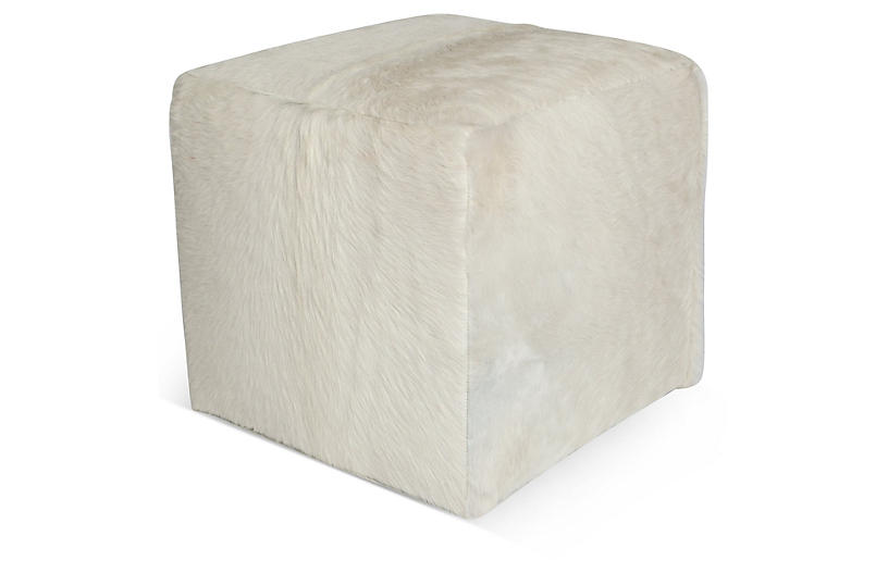 Miraculous Cube Ottoman White Hide Creativecarmelina Interior Chair Design Creativecarmelinacom