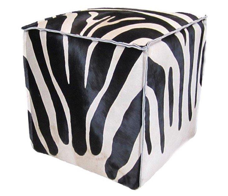 """Cube 18"""" Pouf, Black/White Zebra"""