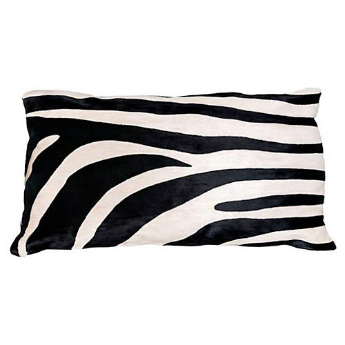 Zebra Hide Lumbar Pillow, Black/White