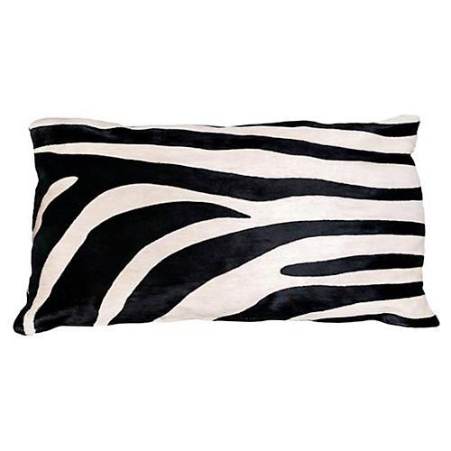 Zebra Hide Lumbar Pillow, Black/White