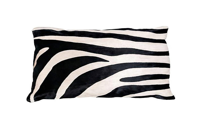Zebra Hide Lumbar Pillow - Black/White - Le-Coterie