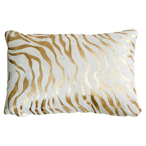 Zebra Striped Lumbar Pillow, Gold
