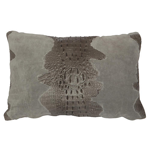 Croc Lumbar Pillow, Gray Suede