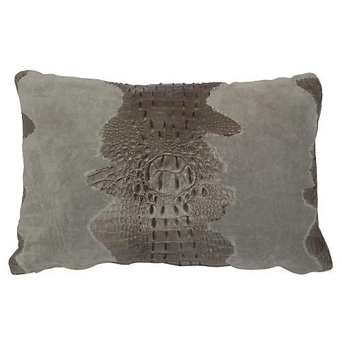 Croc Lumbar Pillow, Gray Suede