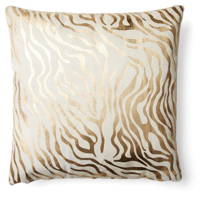 Zebra 20x20 Hide Pillow, Gold