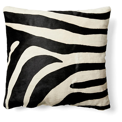 Zebra Hide Pillow, Black/White