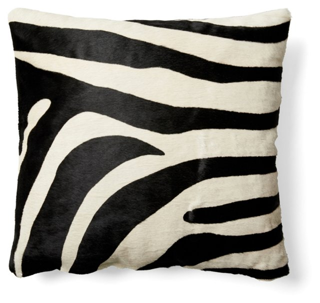 Zebra 22x22 Hide Pillow, Black/White