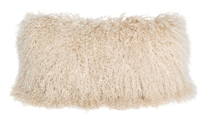 Tibetan 10x20 Lamb Fur Pillow, Beige