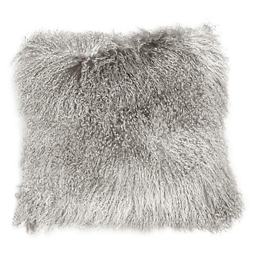 Tibetan 24x24 Pillow, Tipped Gray