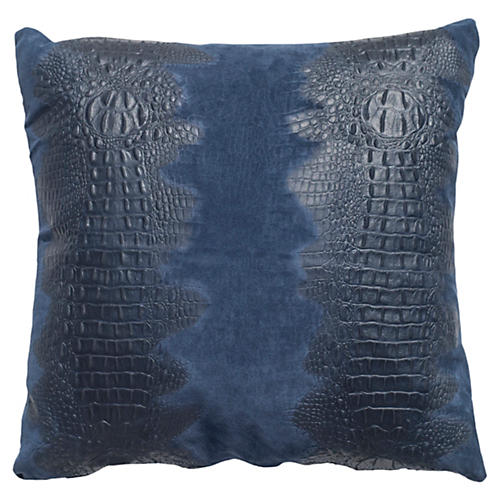 Croc Pillow, Navy Suede