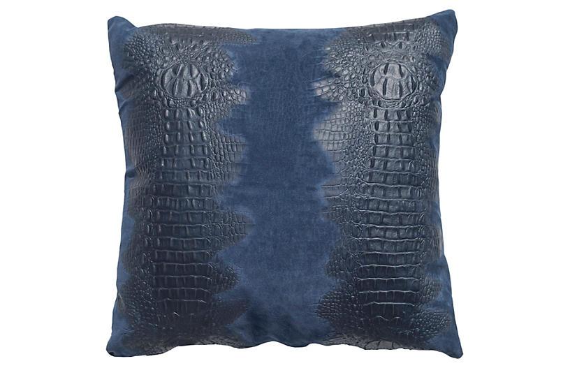 Croc Pillow, Navy Suede