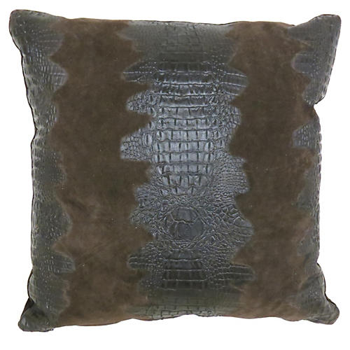 Croc Pillow, Brown Suede