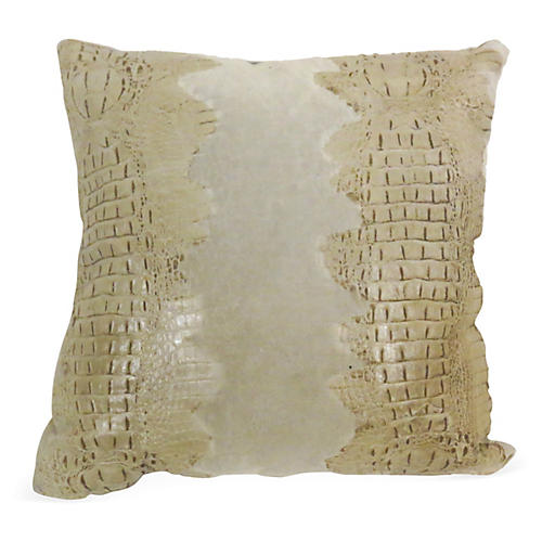 Croc Pillow, Oyster Suede