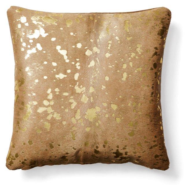 Shimmer 20x20 Hide Pillow, Beige/Gold