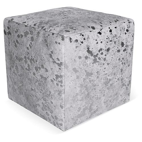 """Cube 18"""" Pouf, Silver/White"""