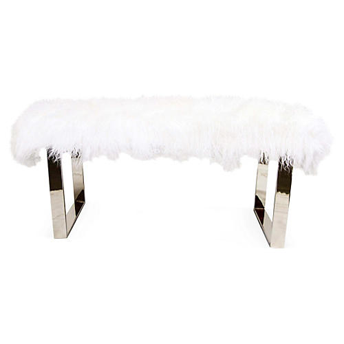Curly Bebe Bench, Silver/White