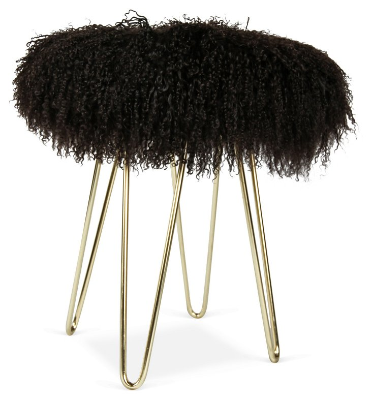 Curly Hairpin Stool, Brown/Gold