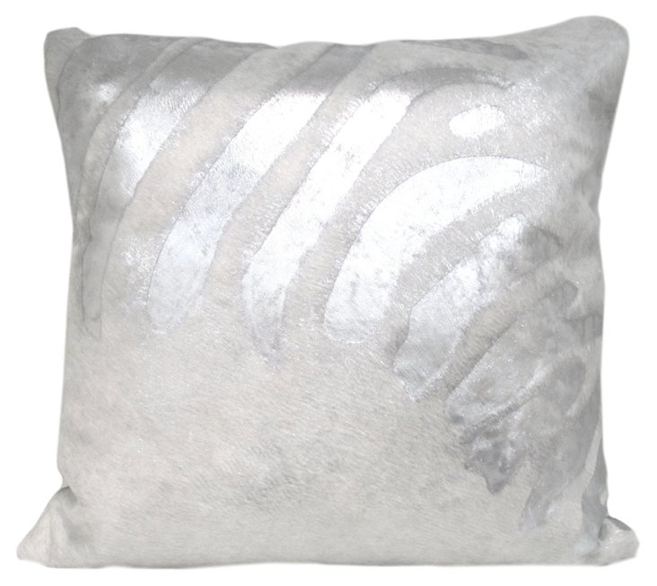 Zebra Hide Pillow, Silver