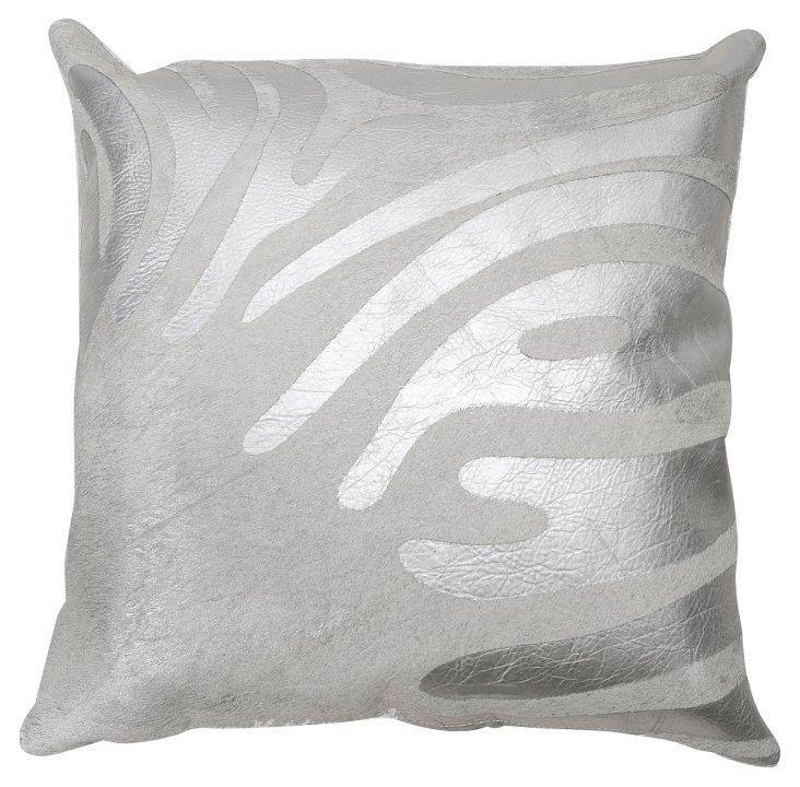Zebra 18x18 Hide Pillow, White/Silver