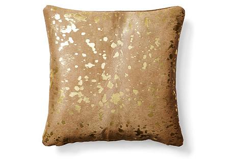 Shimmer Hide Pillow, Beige/Gold