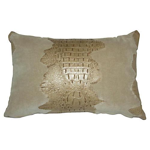 Croc 12x18 Lumbar Pillow, Oyster Suede
