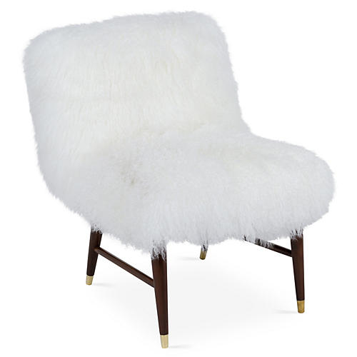 Curly Ann Tibetan-Lamb Chair, White