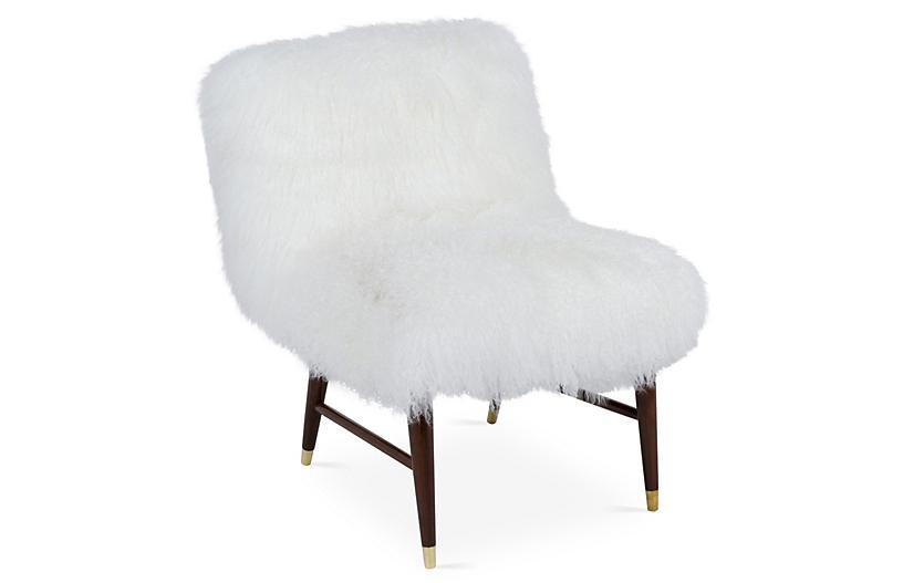 Curly Ann Tibetan-Lamb Chair, White