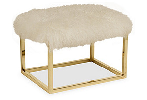 "Curly Chris 24"" Bench, Brass/Ivory*"