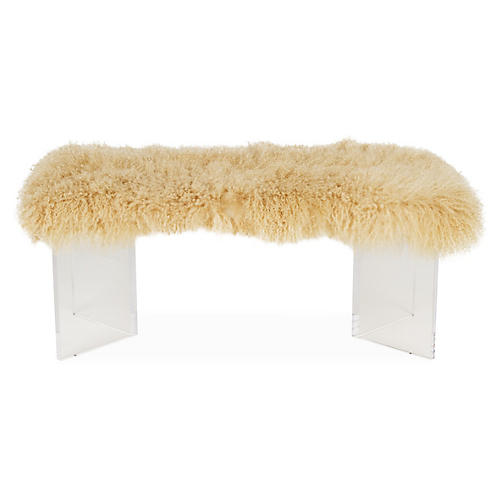 Curly V Tibetan Lamb Bench, Beige
