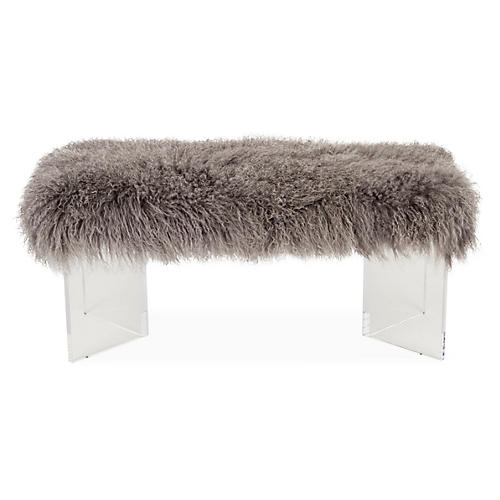 Curly V Tibetan Lamb Bench, Gray