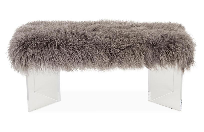 Curly V Tibetan Lamb Bench, Gray