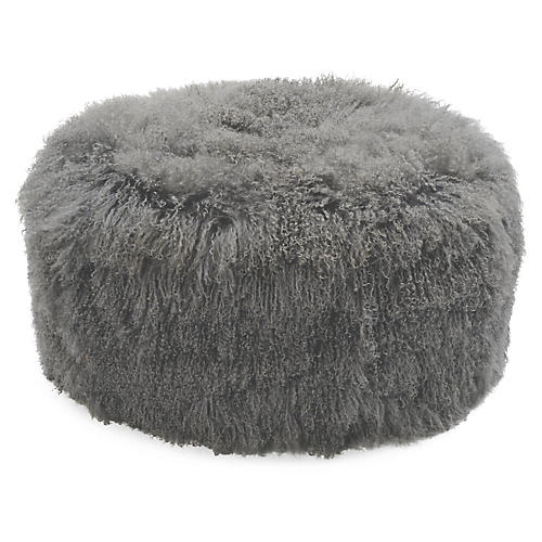 Curly Boo Ottoman, Gray
