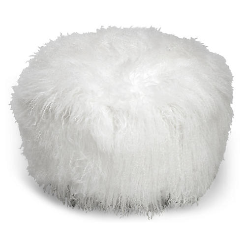 Curly Boo Ottoman, White