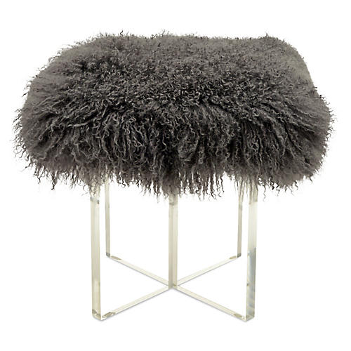 Curly Kiss Stool, Charcoal