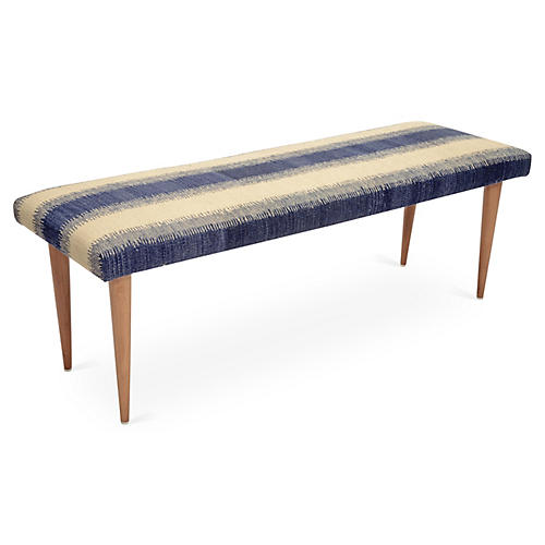 Adolfo Stripe Kilim Bench, Blue