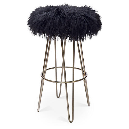 Curly Hairpin Barstool, Silver/Black
