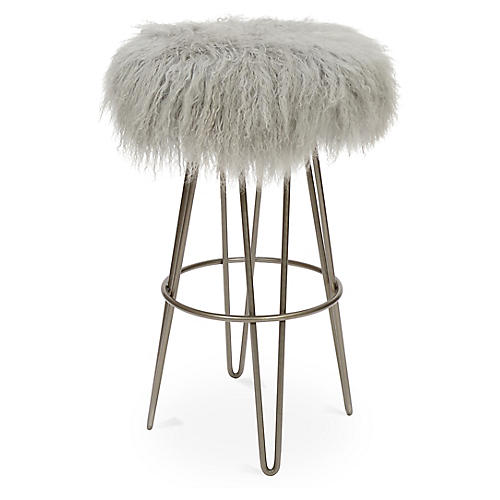 Curly Hairpin Barstool, Silver/Gray
