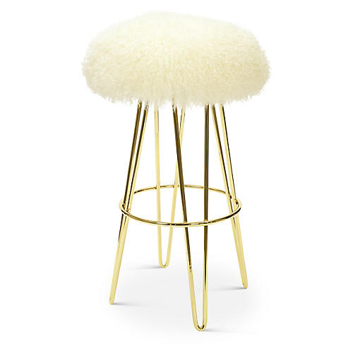 Curly Hairpin Barstool, Brass/Cream