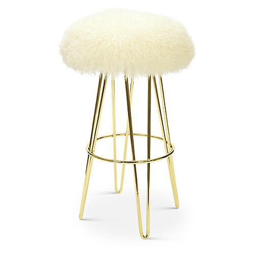 Curly Hairpin Barstool, Gold/Cream