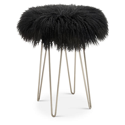 Curly Hairpin Counter Stool, Pewter/Black