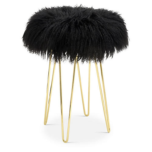 Curly Hairpin Counter Stool, Gold/Black
