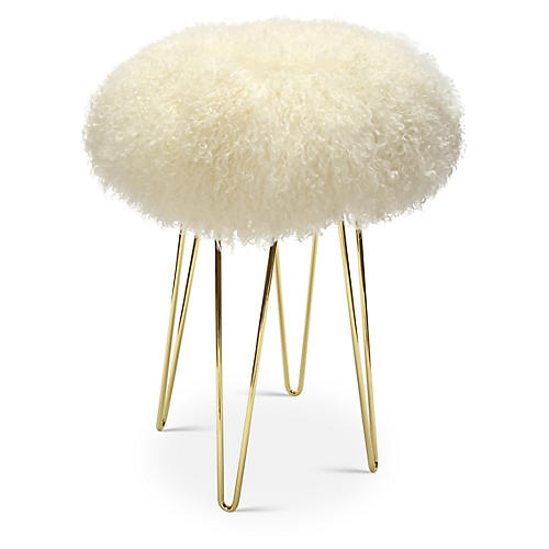 Curly Hairpin Counter Stool, Brass/Cream